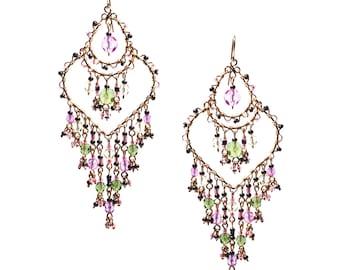 Multi Color Beaded Chandelier Earrings, Colorful Earrings, Watermelon Tourmaline Bead Earrings,Chandelier Earrings