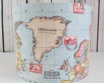 Handmade lampshade in a world map atlas fabric