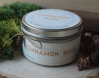 40% Sale | Cinnamon Buns | Scented Soy Candle | Vegan + Eco-Friendly | 4 oz, 6 oz, 8 oz