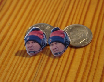 Bill Belichick stud earrings, Coach, New England Patriots, Go Pats!