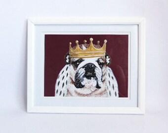 Hand Painted Acrylic  Bulldog Limited Edition Print