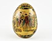 gallerymichel Satsuma Imari Chinese Egg with Geisha Image Raised Gold Hand-Painted Details