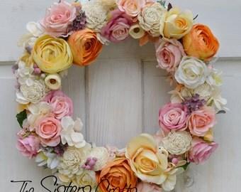 Spring Wreath, Flower Wreath, Summer Wreath, Peony Wreath, Bright Wreath