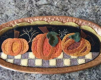 Wool Appliqued Pumpkins and Copper Wall Hanging