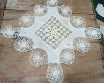 Antique Unusual Doily Scarf..Tatted..8x8 inches Square..