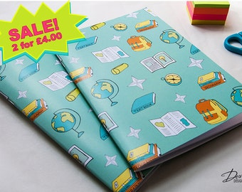 A5 Notebook, Geography Pattern Print Notebook with 40 blank pages