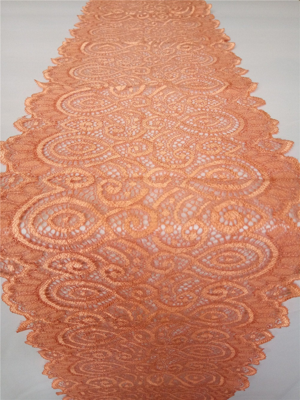 Coral lace table runner wide lace overlay coral party for Table coral sample