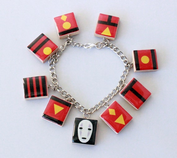 Spirited Away Inspired Scrabble Tile Charm Bracelet, Bath Tokens Bracelet