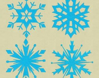 Embroidery design Frozen 4 snowflakes pes 4x4 5x7  pes hus jef dst vp3 exp