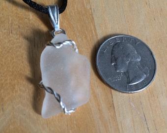 White Sea glass pendant