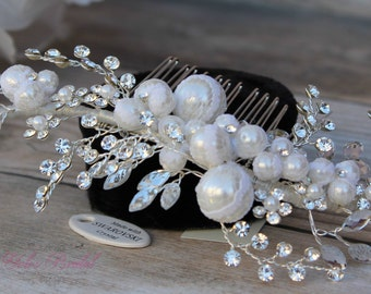 Swarovski Hair Comb, Pearl and French lace Hair comb, Crystal Bridal Hair comb, Swarovski Wedding Hair Comb