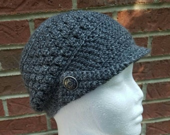 Crocheted Slouch Newsboy Cap Hat