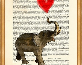 Elephant with Heart DICTIONARY ART PRINT on Vintage Dictionary Page 8'' x 10'' from recycled encyclopedia