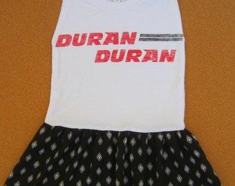 Duran Duran Rock t-shirt Girls dress, size 6, size 7, girls outfit kids clothing girls dress upcycled dress handmade dress one of kind