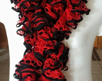 Ruffle Scarf - Red with Black Edge