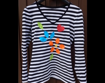 Striped T-shirt with reverse applique
