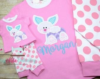 Easter pajamas, bunny pajamas, girls pajamas, boy pajamas, girls pj, boy pj, spring pj, spring pajama, pj, girls pajamas, girls pj, appliqué