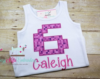 Gamer birthday shirt, gamer shirt, pixel shirt, creep shirt, video game birthday party, embroidery applique