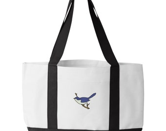 Blue Bird Tote Bag. Embroidered Blue Bird Tote. Blue Bird Tote Bag. Animal Lover Tote. Blue Bird Tote Bag. Bird Bag.  7002