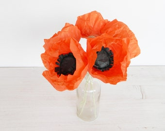 Five pieces of red paper poppies, paper flowers, poppy, flower decoration