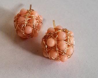 earrings, pink earrings, handmade earrings, stud earrings
