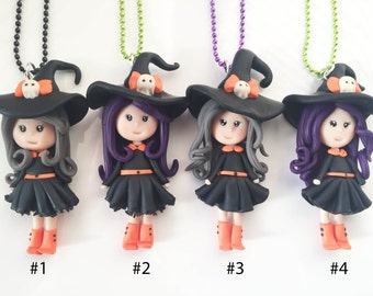 Halloween Witch Polymer Clay Necklace