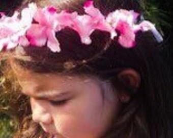 Pink Flower Crown Headband Pink Silk Floral Hair Wreath For Women and Children Adjustable Flower Halo
