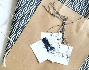 abstract black & white gift tag //set of 8