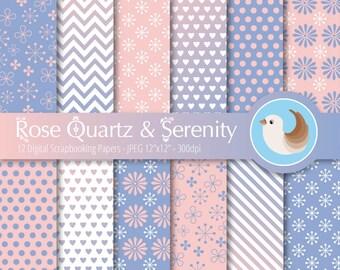 Rose Quartz and Serenity Digital Paper - Pantone Color of the Year Paper - 2016 Color of the Year - Set of 12 Digital Scrapbooking Papers