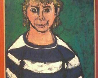 1988 Large Abstract Portrait Lawarence Salander Infamous Artist Dealer Oil Painting