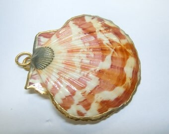 Authentic Vintage Gold Plated Rim Sea Shell Charm Pendant
