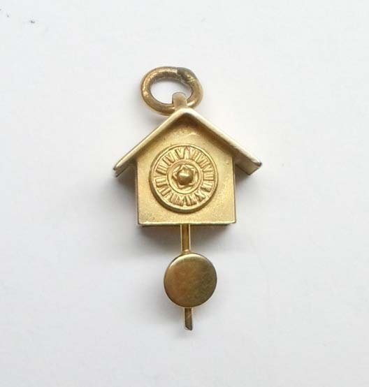 14kt gold 3d coo coo clock with movable pendulum pendant charm - Coo coo clock pendulum ...