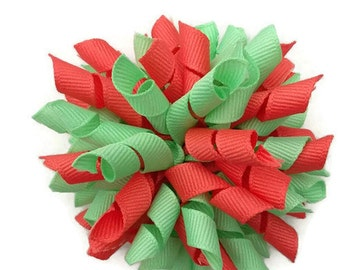 Korker bow, coral and mint korker hair bow
