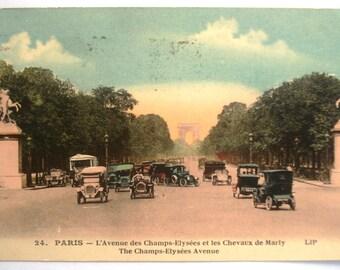 Vintage Antique Carte Postale Postcard Paris - L'Avenue de Champs-Elysees et les Chevaux de Marly   1925 Paper Ephemera
