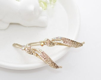 New Woman's Golden white Rhinestone Leaf Bobby Pin Wedding Prom Bridal Hair Clip Gold Plated.