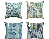 Blue Ikat and Green Pillow Cover - Ikat Frost Accent Pillow - Blue Pillow Cover - Chloe Frost Pillow - Neda Ikat Pillow Cover - Green Pillo