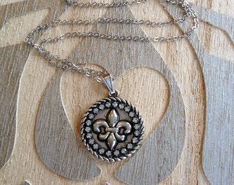 Rhinestone fleur de lis necklace, rhinestone, fleur de lis, silver, rhinestone, pendant, necklace, gift, French, Paris, NOLA