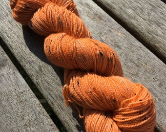 Hand Dyed Superwash BFL Donegal Sock Yarn, 100g/3.5oz, Tonal/Semi-Solid, 'Orange Colored Sky'