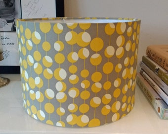 New! 30cm Drum Lampshade in Gorgeous Amy Butler Midwest Modern Martini Mustard & Grey Cotton Fabric. Lampshade or Ceiling Shade.