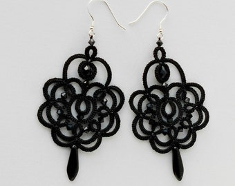 Black lace earrings, black earrings with black beads, tatted earrings, tatting jewelry