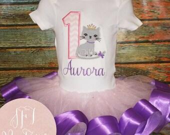 Custom Kitten Princess Birthday Shirt and Tutu Outfit