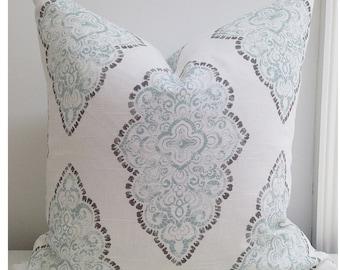 Zipper Pillow Cover Decorative Throw Pillow Accent pillow cover 12x16 16x16 18x18 20x20 Monroe Slub Snowy Pale blue white Bittersweet