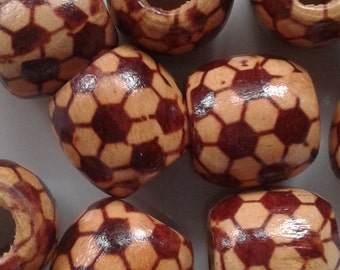 set of 10 wooden beads 15mm for craft projects,jewellery making,macrame beads,red,cream,maroon,flower pattern ,striped pattern