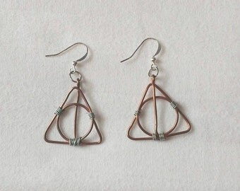 Deathly Hallows Earrings - Copper