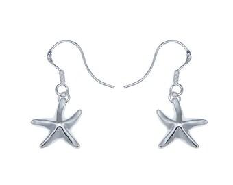 925 Sterling Silver starfish fishhook drop earrings