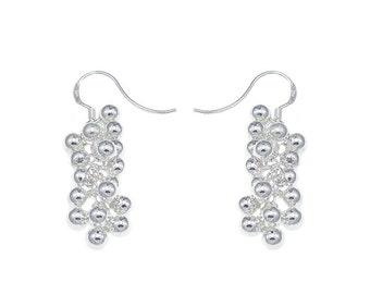 925 sterling silver cluster ball dangle earrings