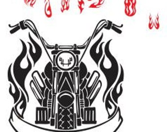 Biker and Flames SVG DXF File