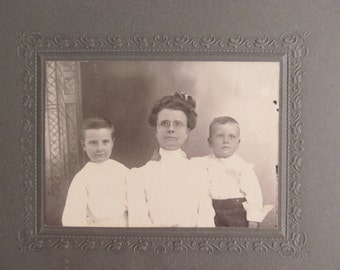 Vintage Photo of Mother and Two Sons