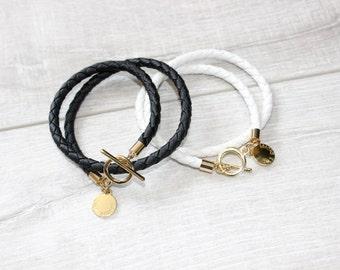 SAMPLE SALE 016 - Elise Leather Wrap Bracelet - Black or White - genuine leather wrap bracelet, black and gold, white and gold