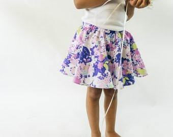 Purple Flowers Twirl Skirt, Circle Skirt for baby and toddler girls with Knotted Headband